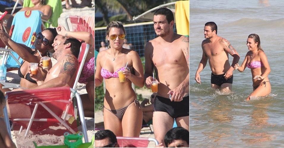 6.abr.2013 - Os ex-BBBs Marien e Rafa curtem praia com amigos em Ipanema