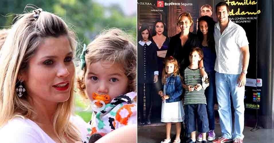 """7.abr.2013 - As atrizes Flávia Alessandra (à esq) e Adriana Esteves (à dir) levam a família para assistir o musical """"A Família Addams""""no Rio"""