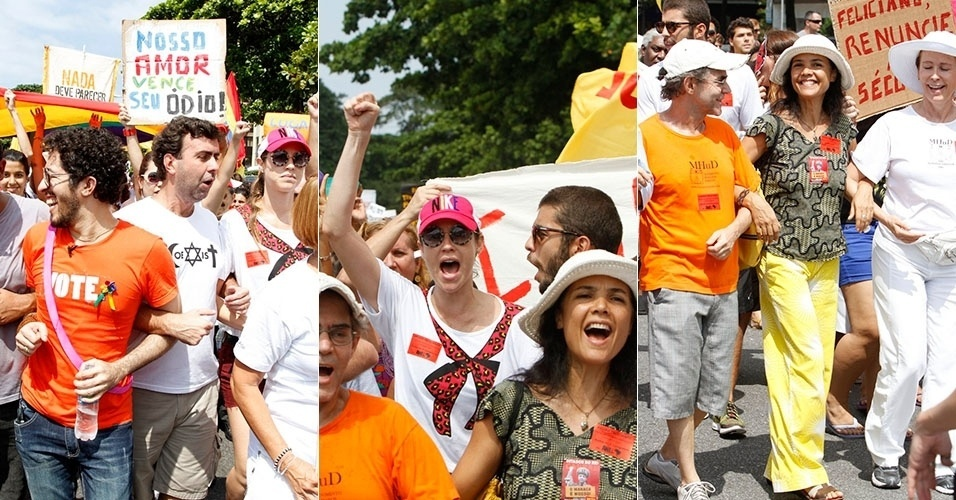 7.abr.2013 - Jean Wyllys, Luana Piovani (de boné vermelho) e o marido Pedro Scooby e a atriz Tereza Seiblitz (de chapéu branco) participam da passeata da Diversidade na orla de Copacabana, no Rio
