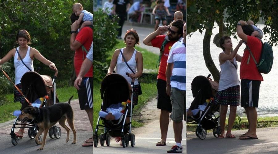 7.abr.2013 - Katiuscia Canora passeia com o marido e o filho no Rio