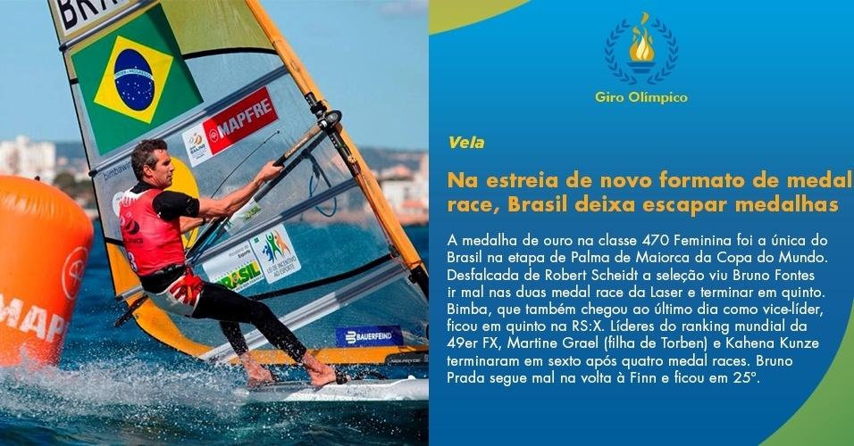 Na estreia de novo formato de medal race, Brasil deixa escapar medalhas
