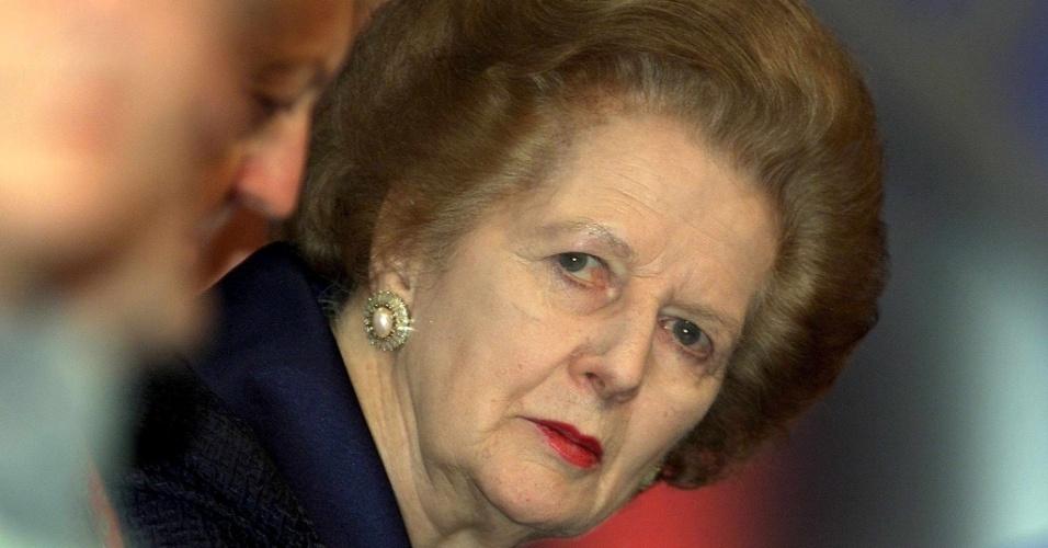 3.out.2000 - Margaret Thatcher participa de uma conferência do Partido Conservador britânico, realizada em Bournemouth, no Reino Unido. A política exerceu o cargo de primeira-ministra britânica entre 1979 e 1990
