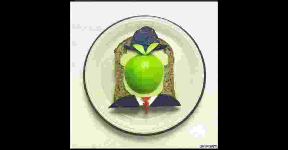 Artista e entusiasta da comida, a norueguesa Ida Frosk criou o projeto 'Art Toast', em que recria obras de arte de figuras como Magritte usando torradas como tela - www.idafrosk.com