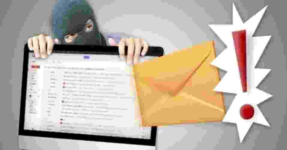 O e-mail é uma das principais ferramentas utilizadas pelos cibercriminosos para tentar aplicar golpes nos usuários da web. Mas algumas características como rementes estranhos, ameaças de cobranças, falta de contatos e erros de português podem mostrar que a mensagem é falsa. Veja uma seleção de tentativas de golpes recebidas pelo UOL Tecnologia e aprenda a identificar um e-mail enganoso - Arte/UOL