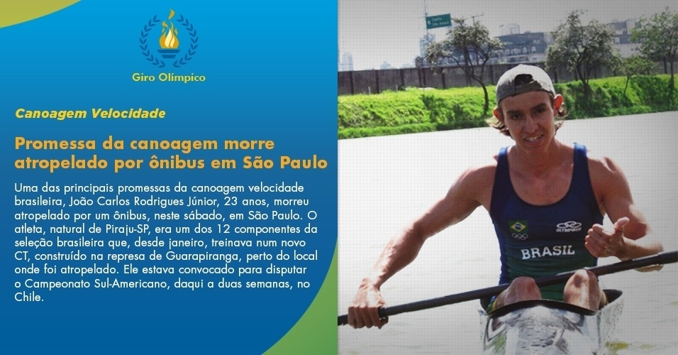 Promessa da canoagem morre atropelado por ônibus em São Paulo
