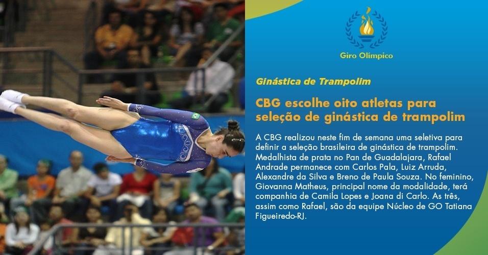 Seleção de ginástica de trampolim é escolhida