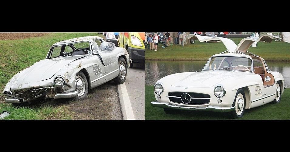 """Um mecânico levou uma rara Mercedes-benz de um cliente para dar uma """"voltinha"""" e deu perda total no veículo. Agora vai ter de arcar com o valor do carro, que custa cerca de R$ 1,5 milhão... À esquerda, o carro destruído. À direita, o veículo intacto em exposição"""