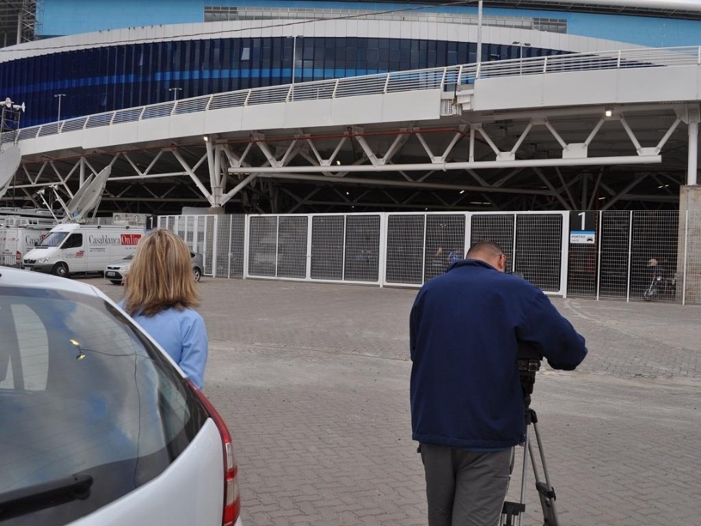 Jornalistas são impedidos de entrar na Arena durante treino do Grêmio (09/04/2013)