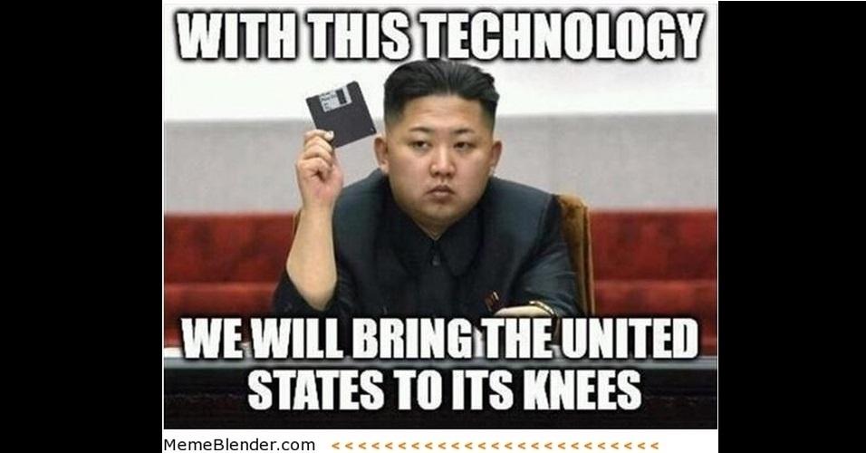 """O líder da Coreia do Norte, Kim Jong-Un, ganhou notoriedade mundial com declarações polêmicas e virou piada na web. Na imagem, a legenda diz """"Com essa tecnologia, nós faremos os EUA se ajoelharem"""" (em tradução livre)"""