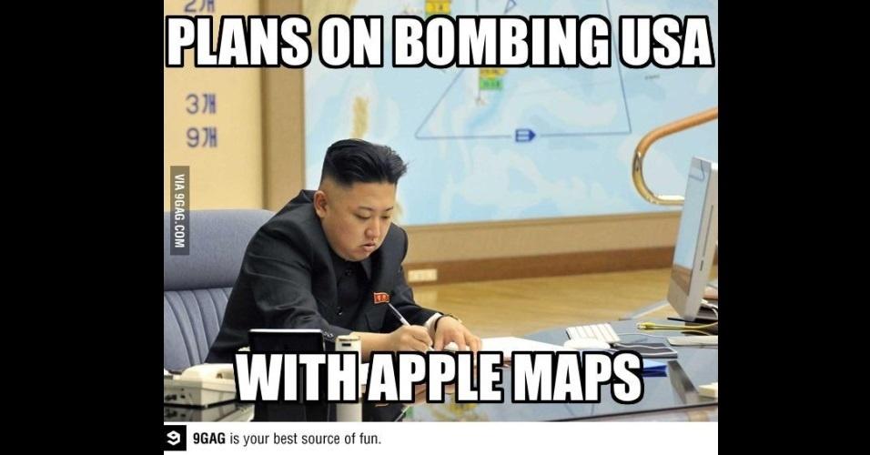 """O líder da Coreia do Norte, Kim Jong-Un, ganhou notoriedade mundial com declarações polêmicas e virou piada na web. Na imagem, a legenda diz """"Planejando atacar uma bomba nos EUA. Usando o Apple Maps"""" (em tradução livre)"""
