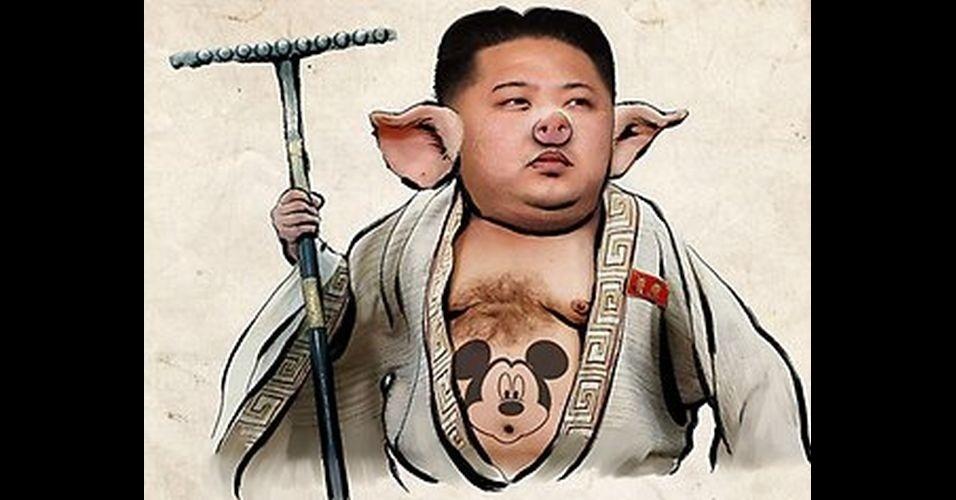 O líder da Coreia do Norte, Kim Jong-Un, ganhou notoriedade mundial depois de dar declarações ofensivas em relação à outros países, como os EUA e a Coreia do Sul. A fama se espalhou pela internet e Jong-Un acabou virando alvo de diversas piadas nas mãos dos usuários da web. Veja outras brincadeiras como da foto acima