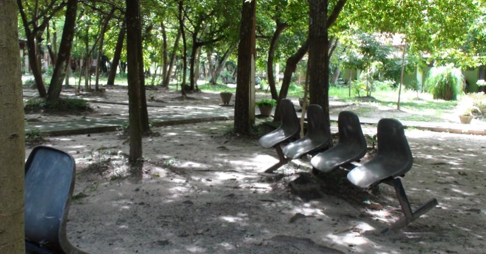Por não haver salas suficientes para estudo na Ufopa (Universidade Federal do Oeste do Pará), os alunos usam as áreas embaixo das árvores para suas reuniões e estudo