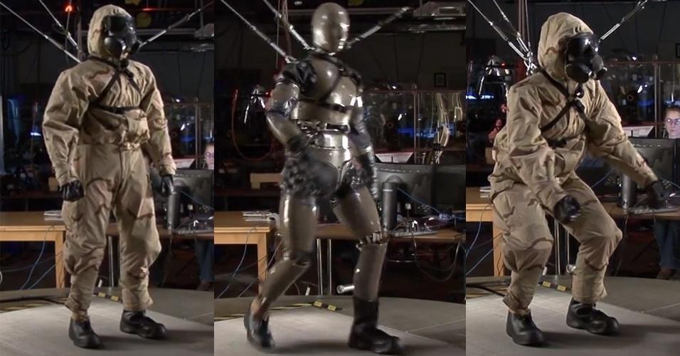 9.abr.2013 - A BostonDynamics desenvolveu um robô-soldado para testar roupas de proteção química no campo de batalha. Mas Petman também simula a fisiologia humana ao controlar, dentro da roupa protetora, a temperatura, a umidade e o suor, reproduzindo as condições vividas numa situação real pelos soldados