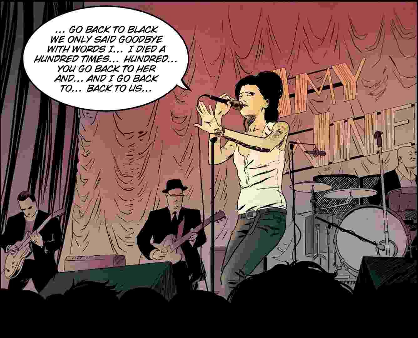 """Amy Winehouse canta """"Back To Black"""", single do álbum homônimo, em show em Londres, na Inglaterra. A cena é retratada no volume dedicado à artista britânica que faz parte da série """"O Clube dos 27"""", que reúne artistas da música que morreram aos 27 anos - Divulgação"""