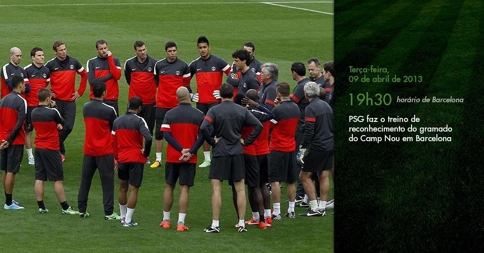 Diário de Lucas: PSG faz o treino de reconhecimento do gramado do Camp Nou em Barcelona (19h30)