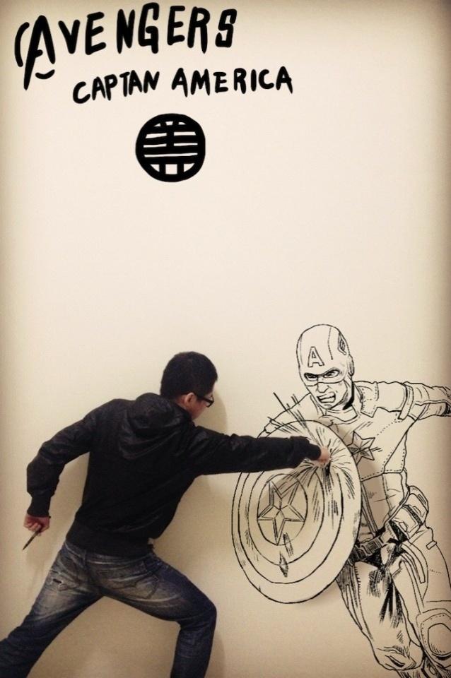 Gaikuo Captain luta contra o Capitão América em ilustração
