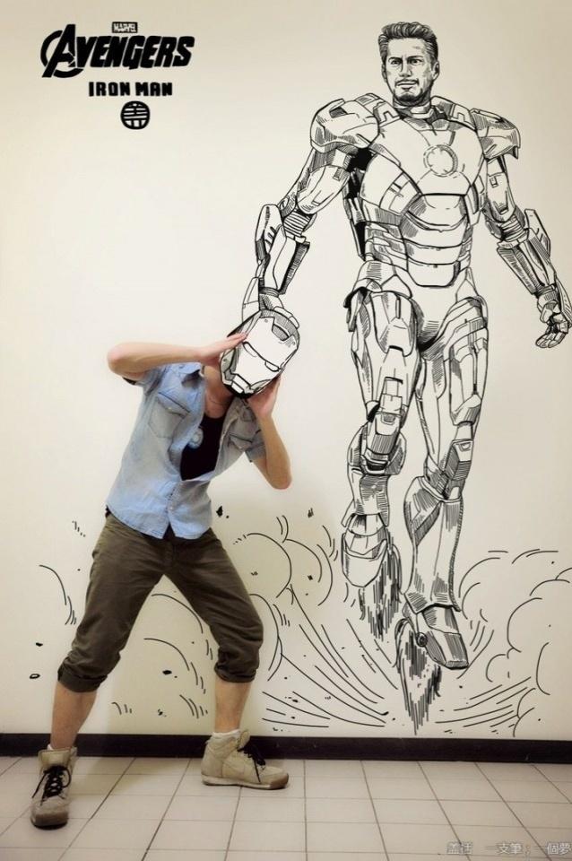 Gaikuo Captain rouba o capacete do Homem de Ferro em ilustração. O desenho é inspirado no filme que tem Robert Downey Jr. como protagonista
