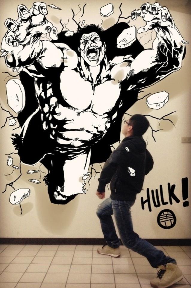 Hulk é um dos personagens ilustrados pelo estudante chinês Gaikuo Captain