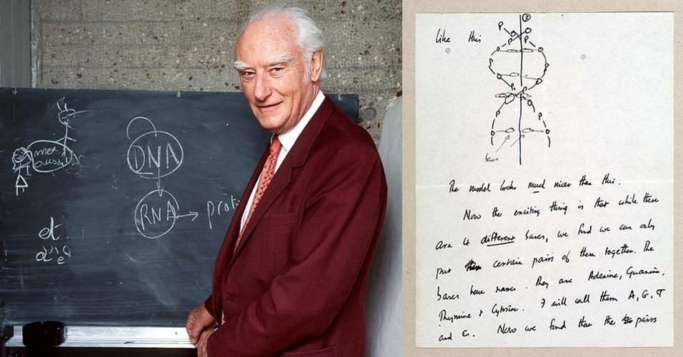 """11.abr.2013 - Michael Crick leiloou por US$ 5,3 milhões (cerca de R$ 10,4 milhões) a carta que recebeu de seu pai (foto), Francis, em que ele descrevia a descoberta do DNA junto com James Watson semanas antes da publicação do artigo na revista Nature. """"Acreditamos ter encontrado o mecanismo básico de cópia de que a vida procede da vida. Imagine o quanto estamos emocionados"""", escreveu o cientista em 19 de março de 1953 ao filho que estudava em um colégio interno. Metade do dinheiro será destinado ao Instituto Salk de Estudos Biológicos na Califórnia, local em que Francis Crick desenvolveu pesquisas de neurociência a partir de 1973"""