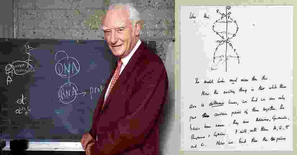 """11.abr.2013 - Michael Crick leiloou por US$ 5,3 milhões (cerca de R$ 10,4 milhões) a carta que recebeu de seu pai (foto), Francis, em que ele descrevia a descoberta do DNA junto com James Watson semanas antes da publicação do artigo na revista Nature. """"Acreditamos ter encontrado o mecanismo básico de cópia de que a vida procede da vida. Imagine o quanto estamos emocionados"""", escreveu o cientista em 19 de março de 1953 ao filho que estudava em um colégio interno. Metade do dinheiro será destinado ao Instituto Salk de Estudos Biológicos na Califórnia, local em que Francis Crick desenvolveu pesquisas de neurociência a partir de 1973 - Daniel Mordzinski/AFP e Christie's/Efe"""