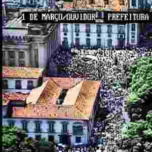 Câmera instalada na rua 1º de Março, no centro, registra multidão aglomerada em frente à Alerj (Assembleia Legislativa do Rio de Janeiro). A foto foi publicada pelo Centro de Operações Rio em seu perfil oficial no Instagram. A página mostra paisagens da cidade captadas pelas mais de 500 câmeras de trânsito da prefeitura - Reprodução/Instagram/Centro de Operações Rio