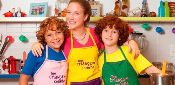 Eduardo, Luisa e Luigi formam o trio do Tem Criança na Cozinha, que vai ensinar receitinhas na TV