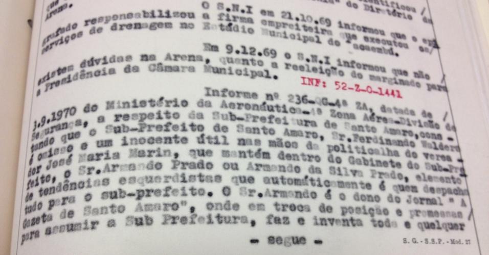 Trecho da primeira página da ficha de Marin no Dops