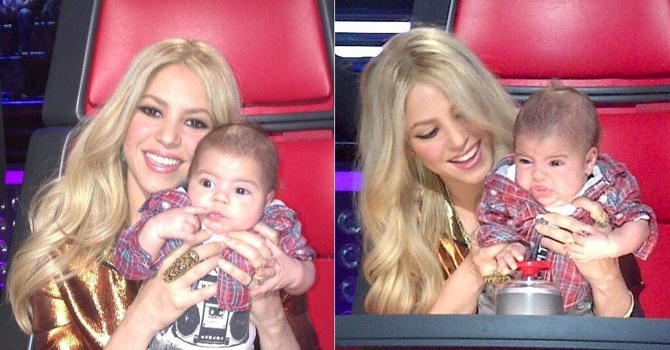 """11.abr.2013 - Shakira leva o filho Milan para acompanhar as gravações do reality """"The Voice"""". """"Parece que Milan está muito intrigado com este competidor"""", escreveu a cantora ao postar a imagem da esquerda. Já na legenda da direita, ela disse: """"Uh Oh, acho que ele não gostou dessa performance"""""""