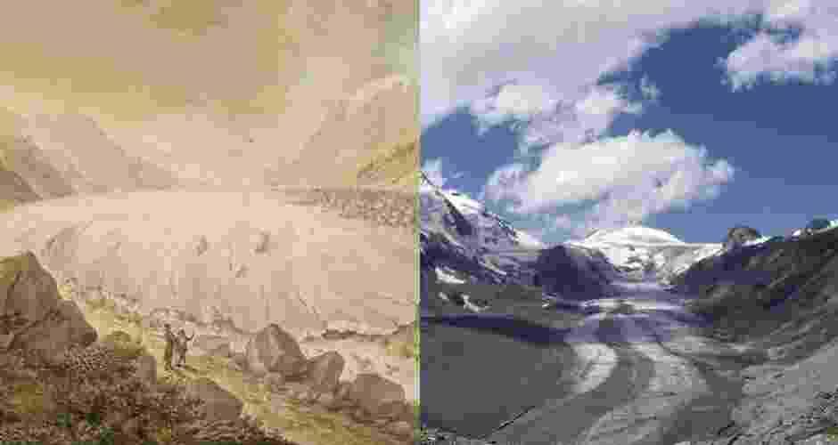 12.abr.2013 - A geleira do Pasterze, no maciço de Hohe Tauern e do Grossglockner (sul da Áustria) retrocedeu 97,3 metros em 2012, o maior degelo de uma geleira registrado desde 1879. As geleiras austríacas recuaram 17 metros em média em 2012. À esquerda a geleira em imagem de 1799 - Andreas Trepte/Dorotheum/Wikimedia Commons