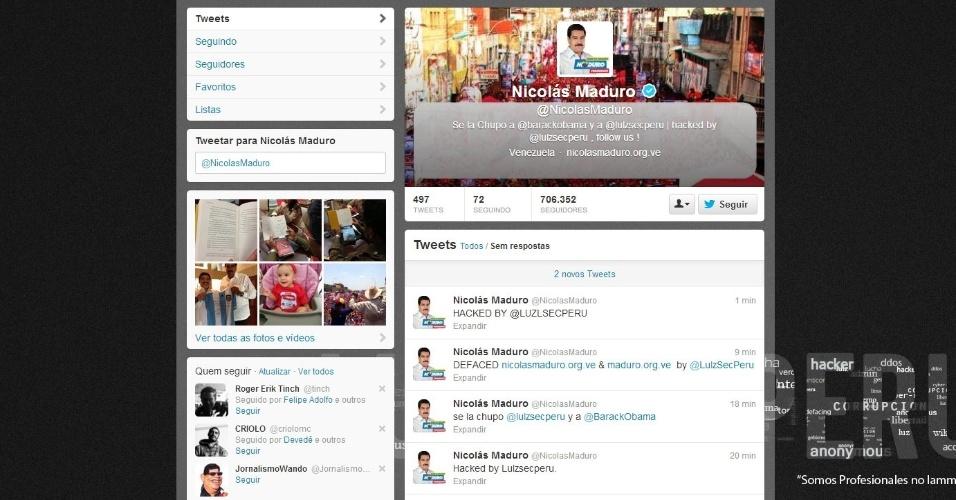 14.abr.2013 - O candidato chavista à presidência da Venezuela, Nicolás Maduro, teve sua conta de Twitter (@NicolasMaduro) hackeada neste domingo (14). Os autores dizem ser do grupo lulzsec do Peru. A rede social é um dos principais canais de comunicação do candidato. A conta do partido de Maduro, o PSUV (@partidopsuv), também foi invadida.