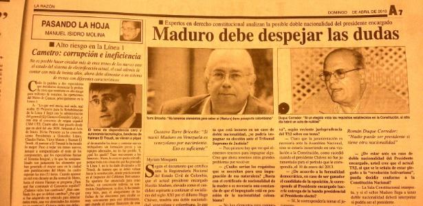 Jornal sugere que Maduro nasceu na Colômbia - Thiago Varella/UOL