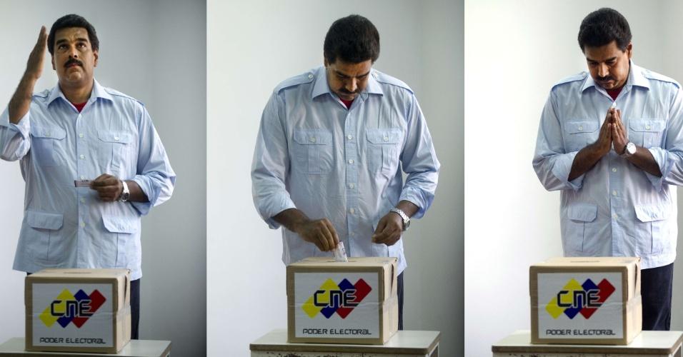 15.abr.2013 -  Montagem mostra o presidente eleito, o chavista Nicolás Maduro, gesticulando durante votação em Caracas, na Venezuela. Maduro derrotou Henrique Capriles, candidato da oposição, por apertada margem de votos