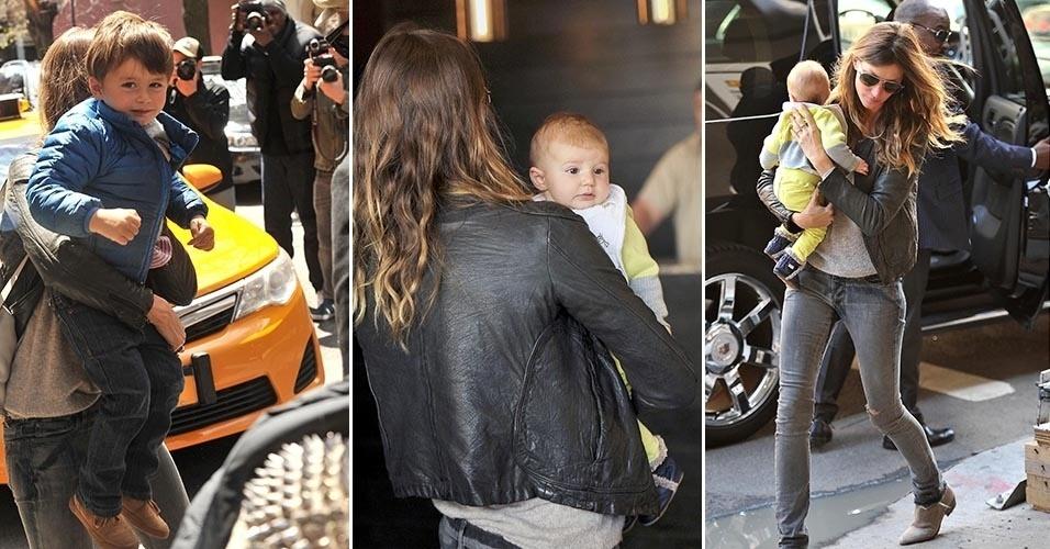 Gisele Bundchen tenta evitar o assédio dos paparazzi com os filhos