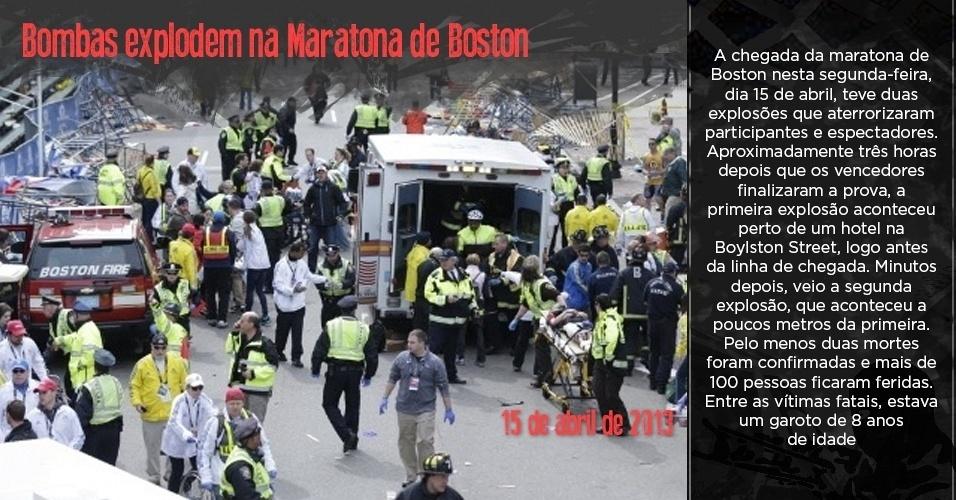 Ambulância e médicos prestam atendimento a feridos após explosão na Maratona de Boston