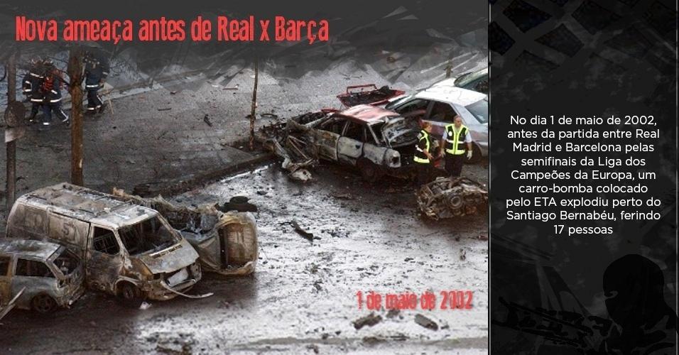 Carro explode em Madri pouco tempo antes de jogo entre Real Madrid e Barcelona pela semifinal da Liga dos Campeões de 2002