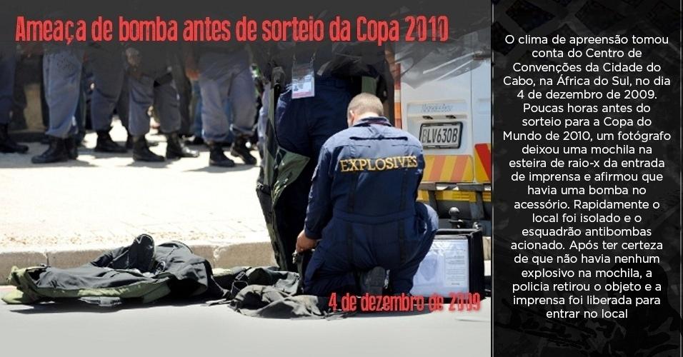 Esquadrão antibombas verifica ameaça de bomba na Cidade do Cabo antes de sorteio para a Copa do Mundo de 2010