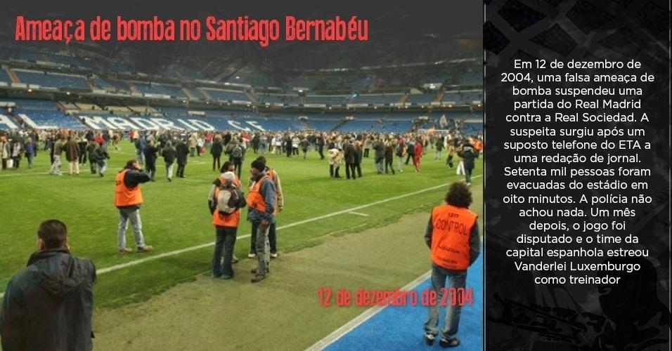 Estádio Santiago Bernabéu, do Real Madrid, sendo evacuado durante ameaça de bomba