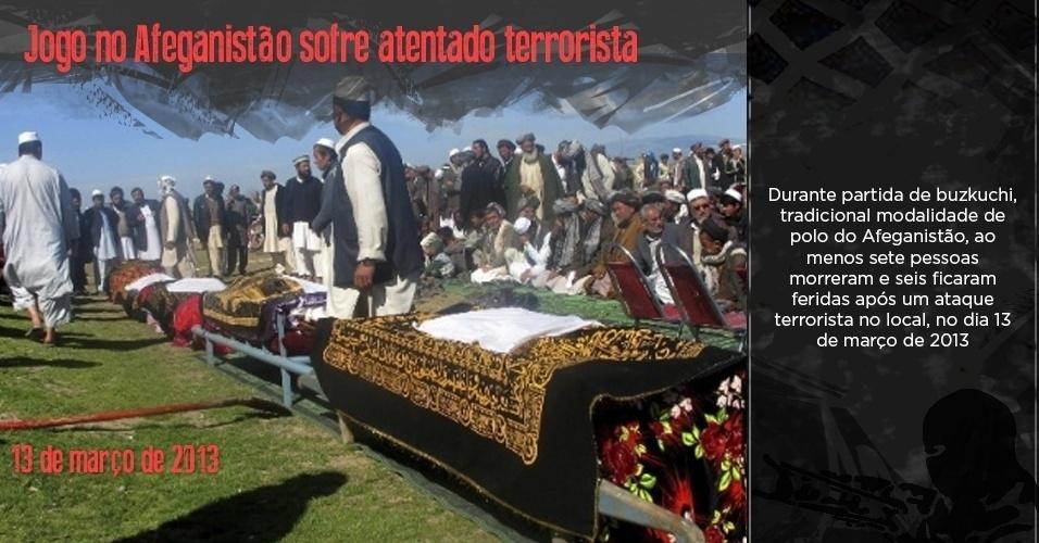 Funeral de vítimas de ataques durante um Buzkashi, tradicional jogo do Afeganistão, em 13 de março de 2013