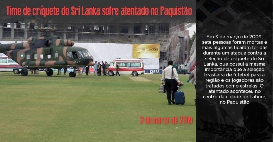Jogadores do time de críquete do Sri Lanka são resgatados após atentado no Paquistão
