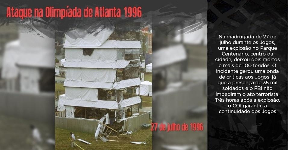 Parque Olímpico de Atlanta destruído após atentado em 1996
