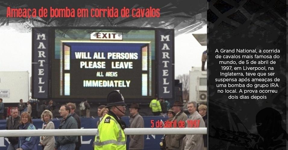 Público deixa o local durante o Grand National de abril de 1997 após ameaças de bombas do IRA