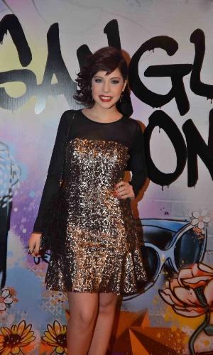 """17.abr.2013 - A atriz Bia Arantes vai à festa de lançamento de """"Sangue Bom"""" em São Paulo"""