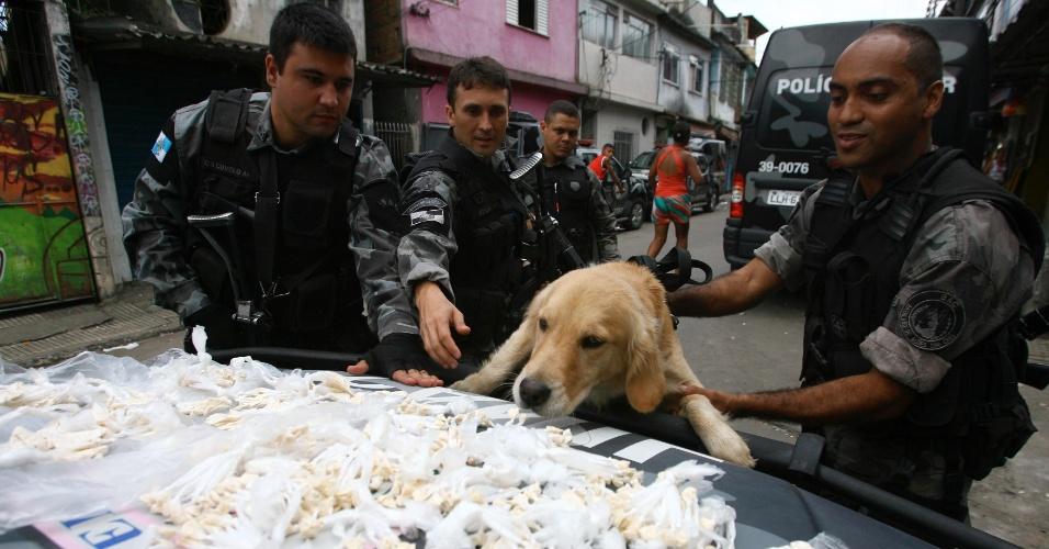 17.abr.2013 - Cão policial participa de operação de combate ao tráfico de drogas em três comunidades de Duque de Caxias, na baixada Fluminense, nesta quarta-feira (17)