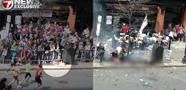 Pacote que supostamente conteria uma das bombas que explodiu durante a Maratona de Boston é flagrado em fotografia (à esq.); a outra imagem teria sido feita momentos após a explosão, a segunda dos atentados - Reprodução/7News