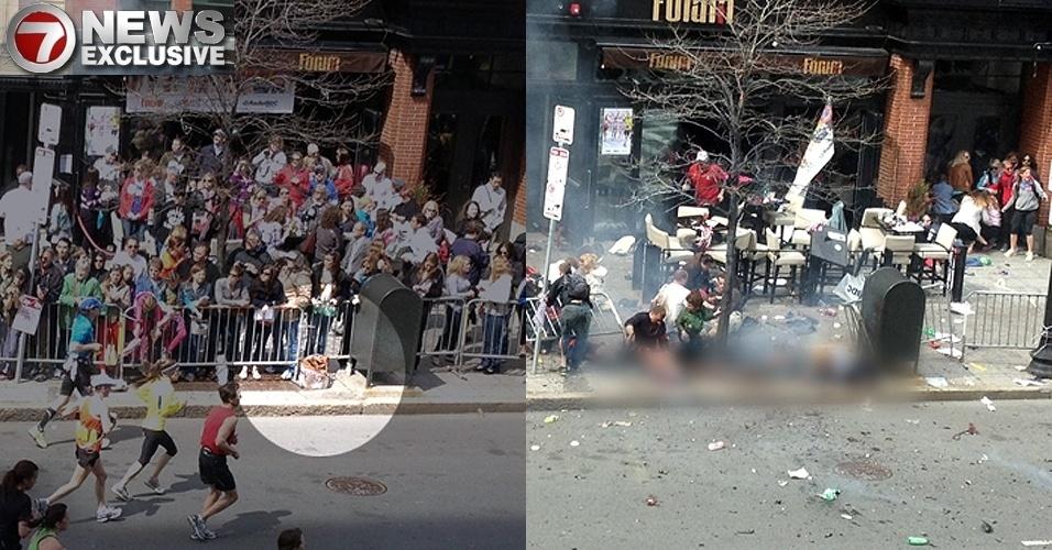 17.abr.2013 - Em montagem feita com fotos enviadas para a rede de TV americana 7News, um objeto que supostamente seria uma bomba é visto no chão (esq.), ao lado de uma caixa de correio, cerca de uma hora antes da segunda explosão que teve como alvo a Maratona de Boston (EUA). Numa segunda imagem (dir.), após a explosão, a caixa de correio permanece intacta, enquanto o local onde estava o objeto é coberto por fumaça