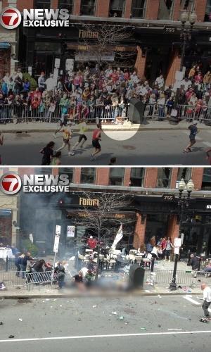 17.abr.2013 - Em foto enviada para a rede de TV americana 7News, um objeto que supostamente seria uma bomba é visto no chão, ao lado de uma lixeira, antes da segunda explosão que teve como alvo a Maratona de Boston (EUA). Numa segunda imagem (próxima foto), após a explosão, a lixeira permanece intacta, enquanto o local onde estava o objeto é coberto por fumaça