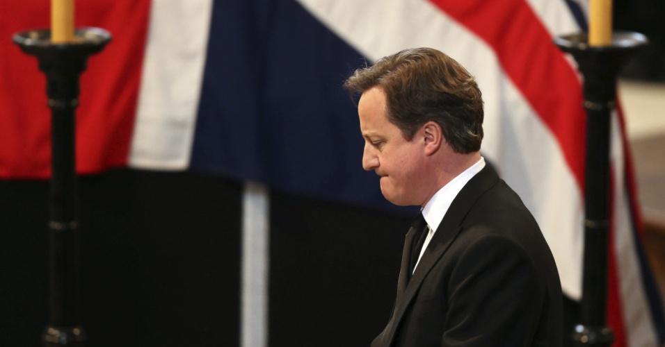 17.abr.2013 - O primeiro minsitro do Reino Unido, David Cameron, acompanha funeral de Margaret Thatcher na catedral de St. Paul, nesta quarta-feira (16)
