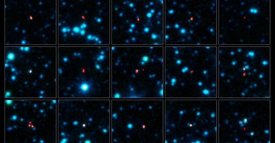 17.abr.2013 - O telescópio ALMA, do Observatório Europeu do Sul (ESO, na sigla em inglês), conseguiu localizar 116 galáxias com formação estelar intensa de forma mais rápida e precisa nunca feita antes. Os astrônomos observaram uma região do céu situada na constelação austral da Fornalha quando o equipamento ainda estava em fase de construção, ou seja, eles usaram um quarto das 66 antenas separadas por até 125 metros de distância. A rede instalada no deserto do Atacama, no Chile, precisou de apenas 2 minutos para achar cada galáxia com precisão, terminando em algumas horas o mesmo trabalho que telescópios anteriores fizeram ao longo de uma década. Os resultados formam o primeiro catálogo estatisticamente confiável de galáxias empoeiradas com formação estelar no Universo primordial (foto) que vão ajudar, sem o risco de má interpretação, no estudo de suas propriedades em diferentes comprimentos de onda