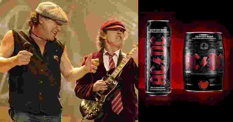 A banda de rock AC/DC possui uma linha de cervejas e vinhos com o nome da banda. A bebida é produzida na Alemanha - Divulgação