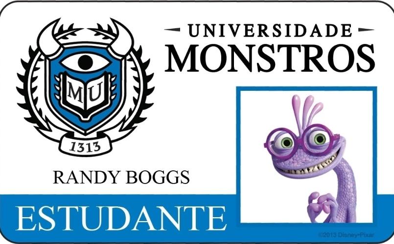 """A Disney Pixar divulgou novo material do filme """"Universidade Monstros"""" que mostra os cartões de identidade de alguns personagens. Acima, o cartão de Randy Boggs"""